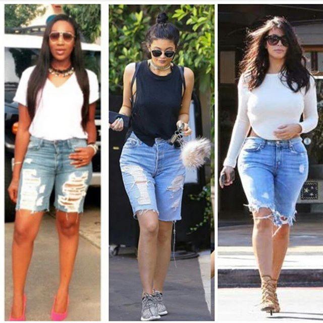 Battle of denim shorts-Ebube Nwagbo vs Kim & Kylie | INFORMATION WORLD
